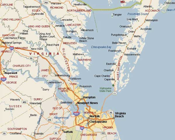 Map Of Virginia East Coast MAP - Map of va