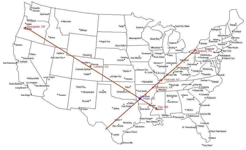 SCHOOL SHOOTING MAP MAY BE A HEXAGRAM EXTENDING FROM CANADA ...